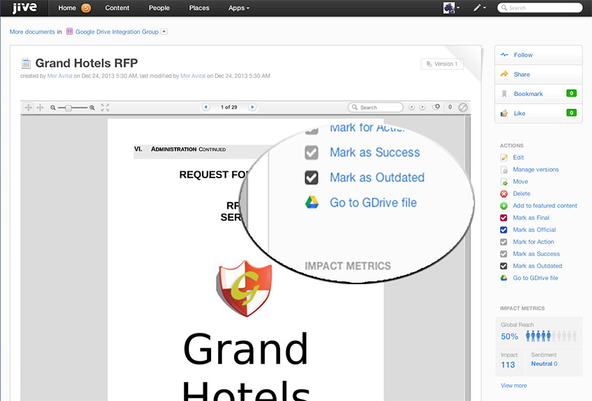 Google Drive Integration for Jive Intranet Software