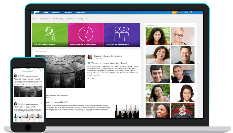 Jive Social Intranet on Mobile and Desktop Enterprise Collaboration Software