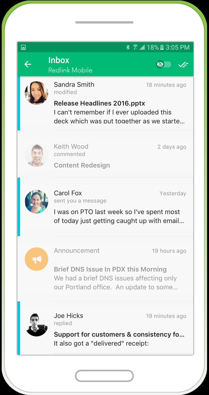 Jive Daily, inbox